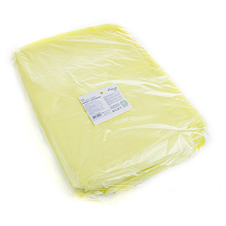 Tablier visiteur polypropylène - 110 cm x 140 cm - jaune (10 pièces)