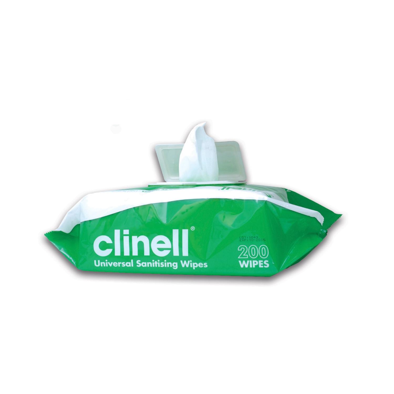 Clinell lingettes désinfectantes surfaces médicales - sans alcool - XL pack (200 pc)