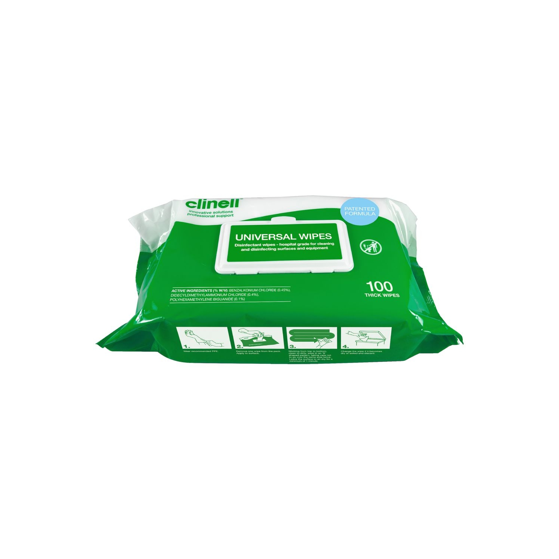 Clinell Universal Soft ingettes désinfectantes - mains & surfaces - sans alcool (100 pcs)