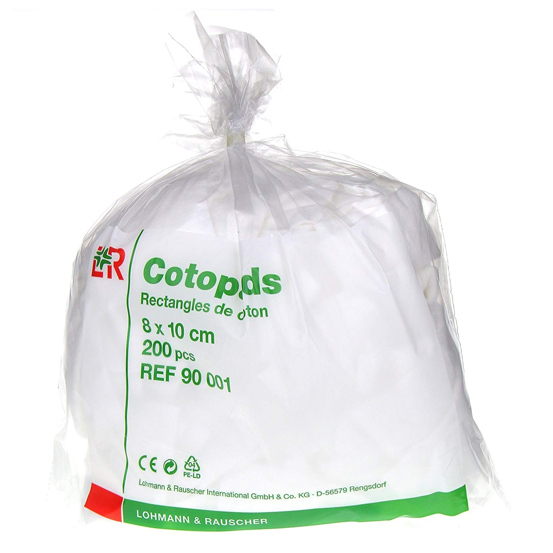 Cotopads coton rectangulaire - 8 x 10 cm (200 pcs)
