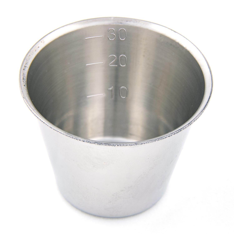 Pots à médicaments inox gradués - 30 cc