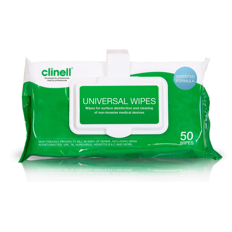 Clinell lingettes désinfectantes surfaces médicales - sans alcool - clip mini pack (50 st)