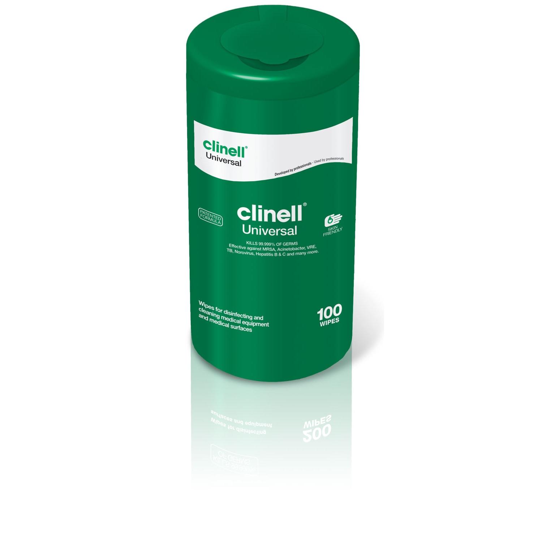 Clinell Universal lingettes désinfectantes surfaces médicales - sans alcool en tube rechargeable (100 pc)