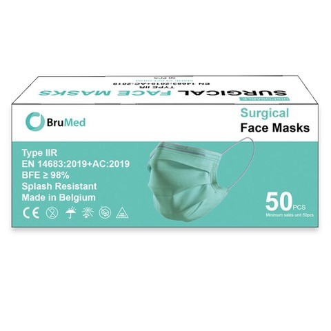 Mondmasker chirurgisch type IIR - Belgisch - 3 lagen - oorelastieken - groen (50 st)