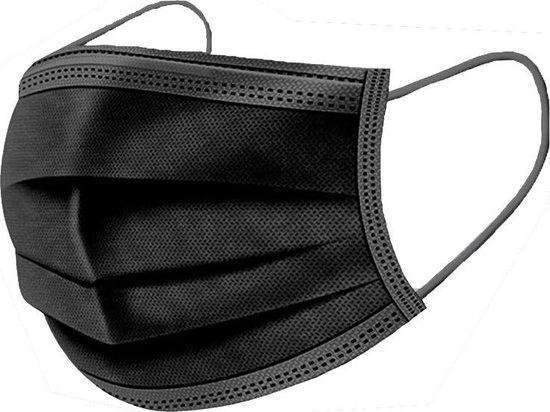 Mondmasker chirurgisch type IIR - 3 lagen - oorelastieken - zwart (50 st)