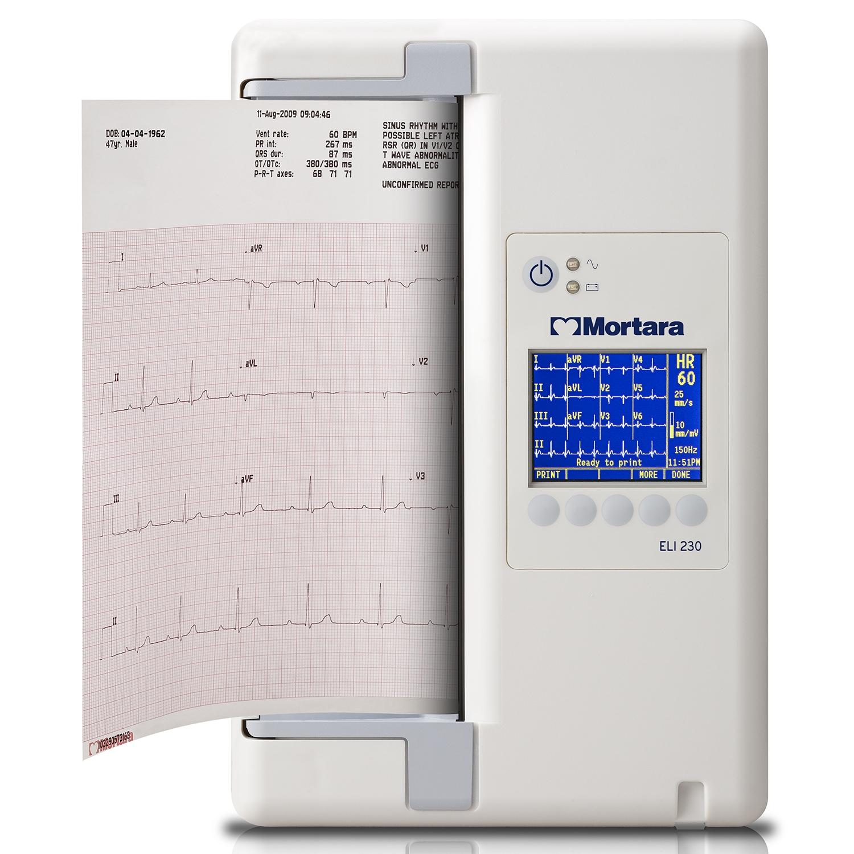 ECG Mortara ELI230 met draadloze patiëntenkabel