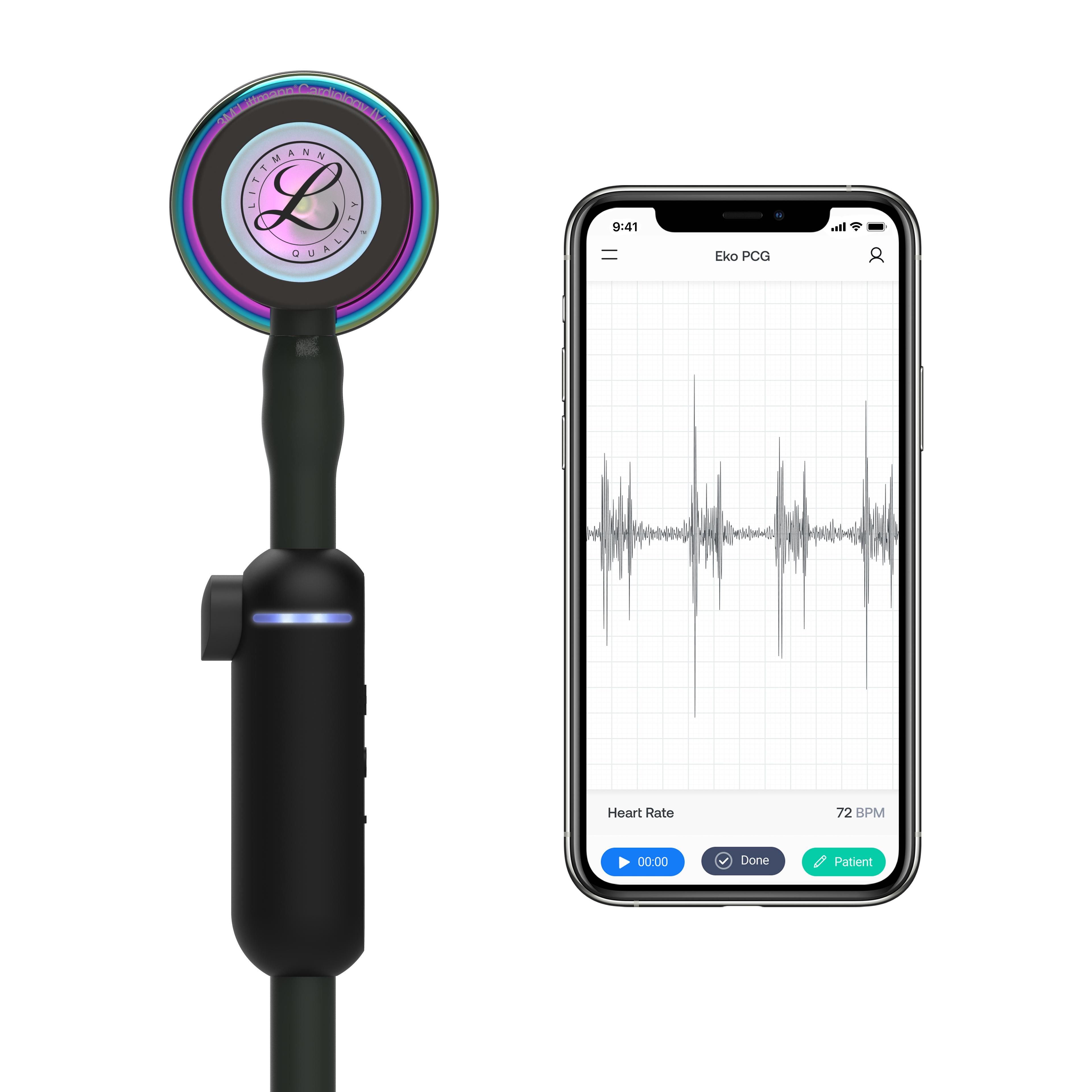 Littmann stethoscoop CORE Digital - black - high polish rainbow chestpiece