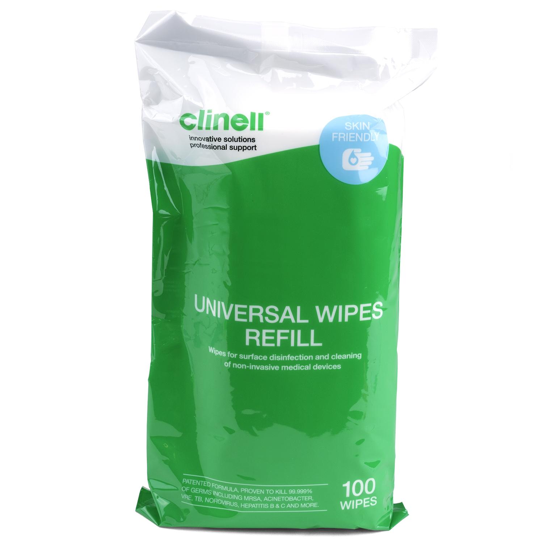 Clinell Universal desinfectiedoekjes medische oppervlakken - alcoholvrij - navulling koker (100 st)